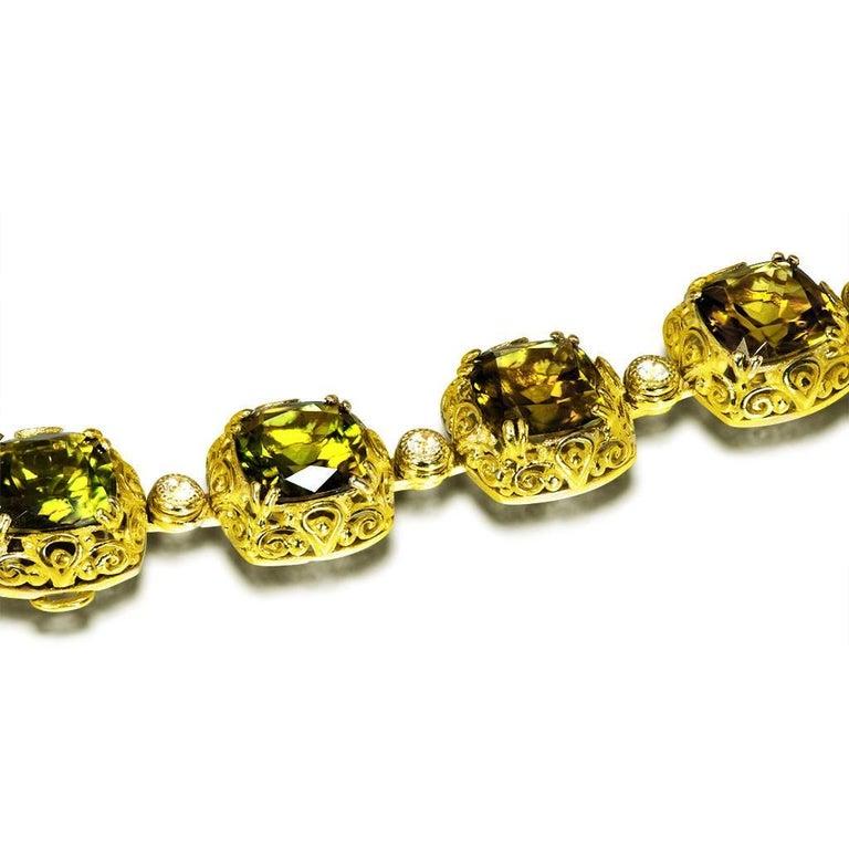 Tourmaline Diamond Gold Byzantine Necklace One of a Kind ...