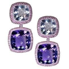 Rose De France Amethyst Garnet Gold Drop Earrings One of a Kind