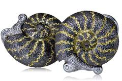 Signature Gold Snail Earrings w Diamonds & Signature Metalwork by Alex Soldier