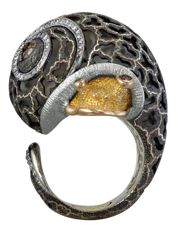 Alex Soldier Diamond Blackened Gold Codi The Snail Ring One of a kind For Sale 2