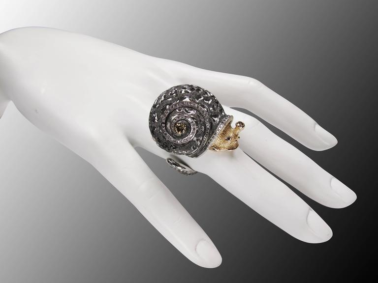 Alex Soldier Diamond Blackened Gold Codi The Snail Ring One of a kind For Sale 4
