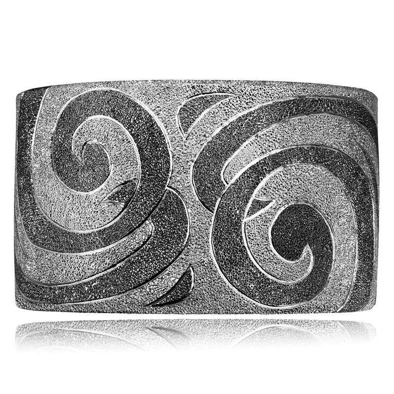 Silver Platinum Textured Cuff Bracelet w Swirl Pattern Handmade in NYC Ltd Ed 2
