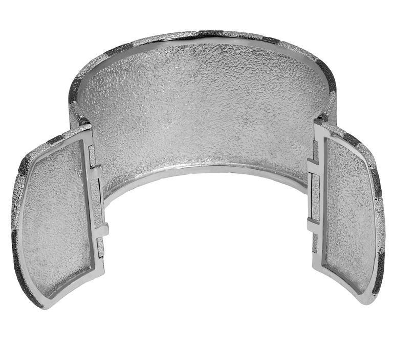 Silver Platinum Textured Cuff Bracelet w Swirl Pattern Handmade in NYC Ltd Ed 4