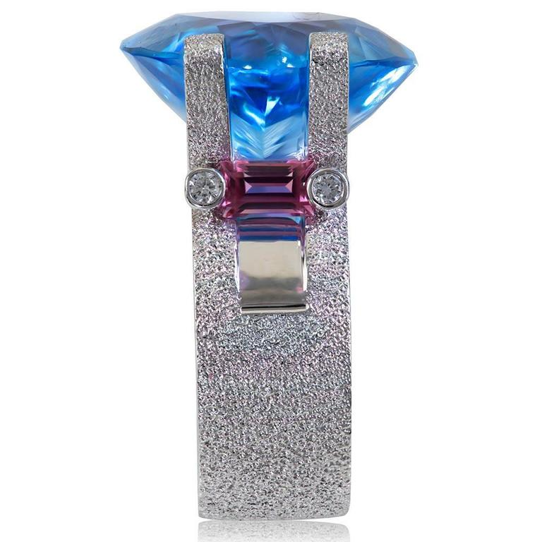 Alex Soldier Blue Topaz Tourmaline Diamond White Gold Ring One of a Kind In New Condition For Sale In New York, NY