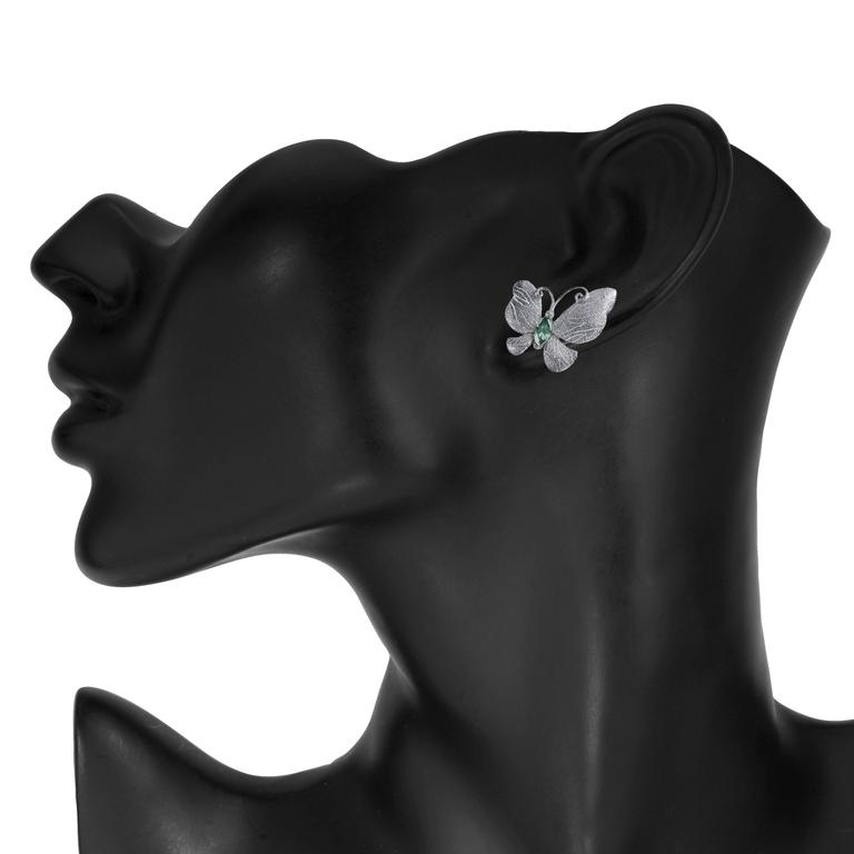 Tourmaline Silver Platinum Textured Stud One of a Kind Butterfly Earrings 2