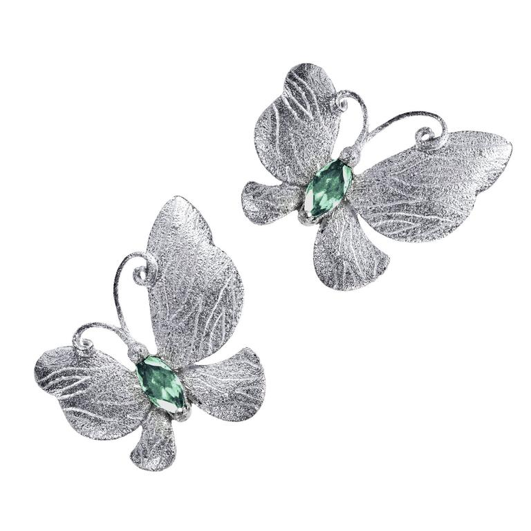 Tourmaline Silver Platinum Textured Stud One of a Kind Butterfly Earrings 1