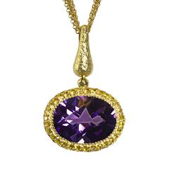 Amethyst Yellow Sapphire Cocktail Art Pendant Necklace, Limited Edition