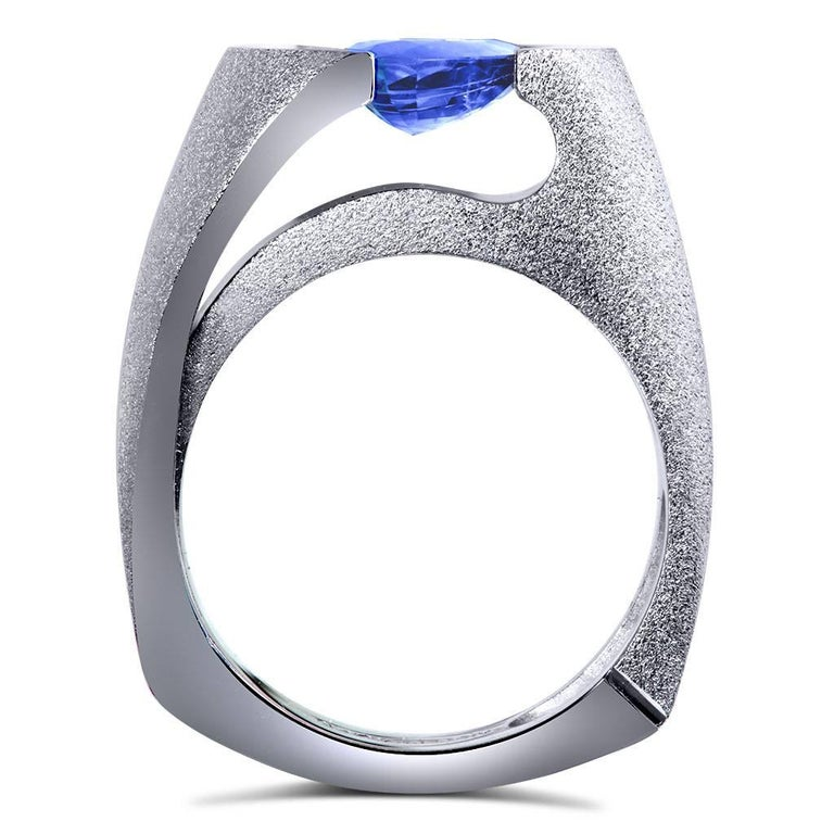 Tanzanite White Gold Engagement Ring One of a Kind 3