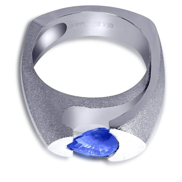 Tanzanite White Gold Engagement Ring One of a Kind 4