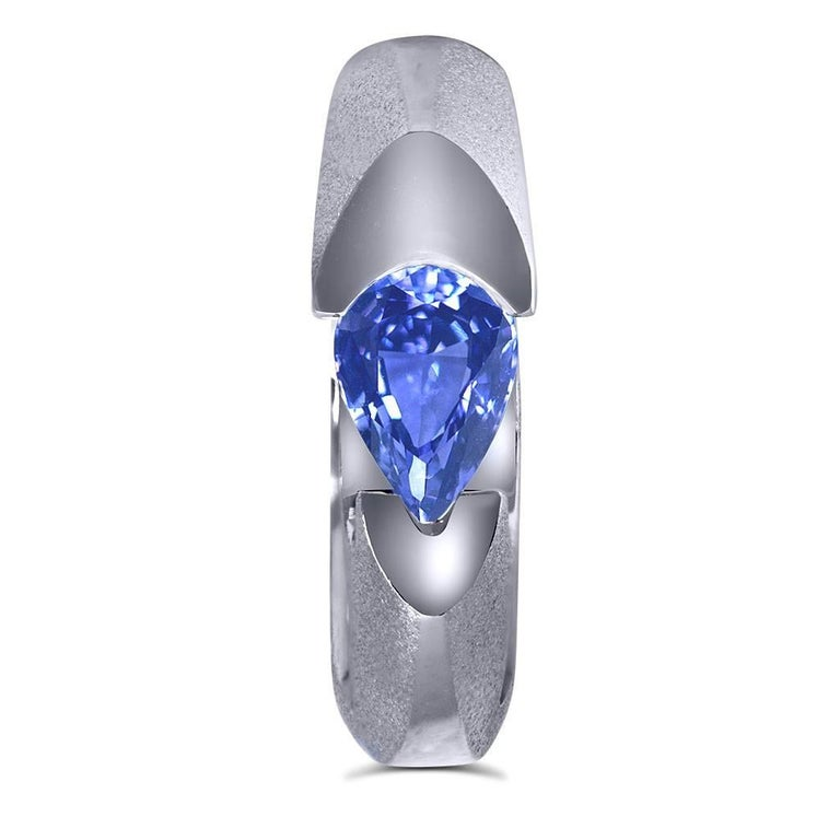 Tanzanite White Gold Engagement Ring One of a Kind 2
