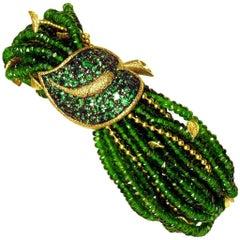 Alex Soldier Chrome Diopside Tsavorite Garnet Gold Leaf Bracelet One of a Kind
