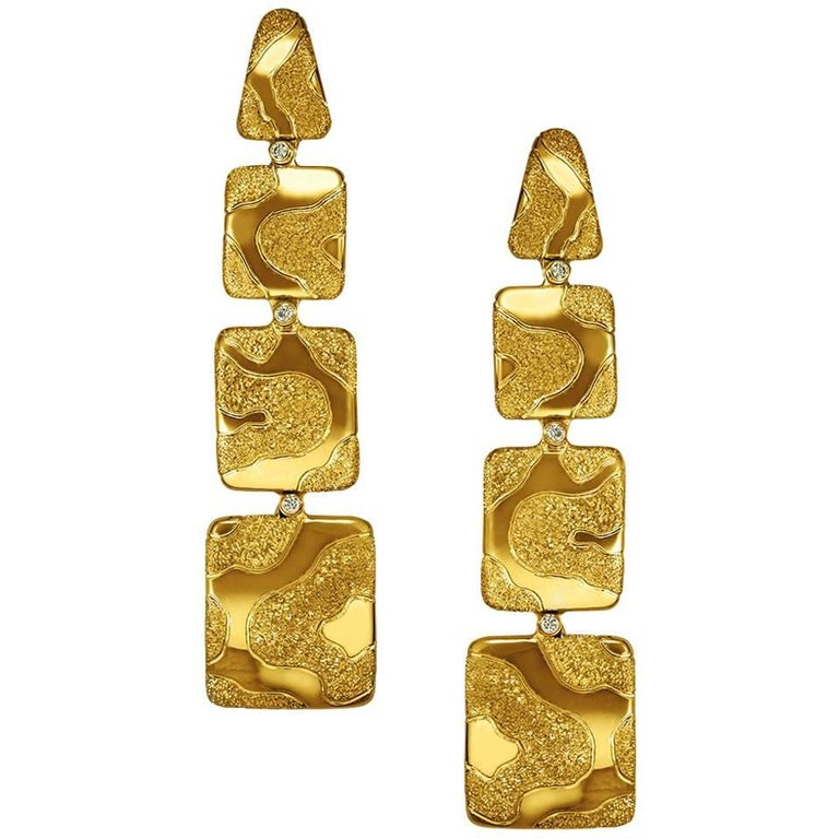 Diamond Gold Textured Drop Earrings One of a Kind For Sale