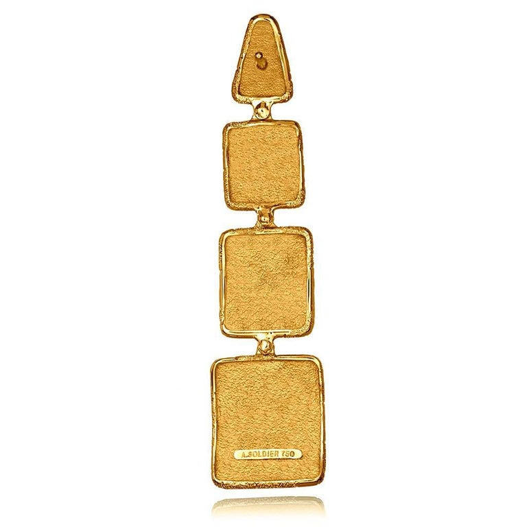Diamond Gold Textured Drop Earrings One of a Kind In New Condition For Sale In New York, NY