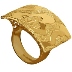 Alex Soldier Yellow Gold Textured Ring, One of a Kind Handmade
