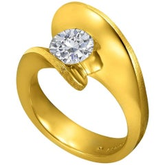 Alex Soldier 1 Carat Diamond Yellow Gold Engagement Ring One of a Kind