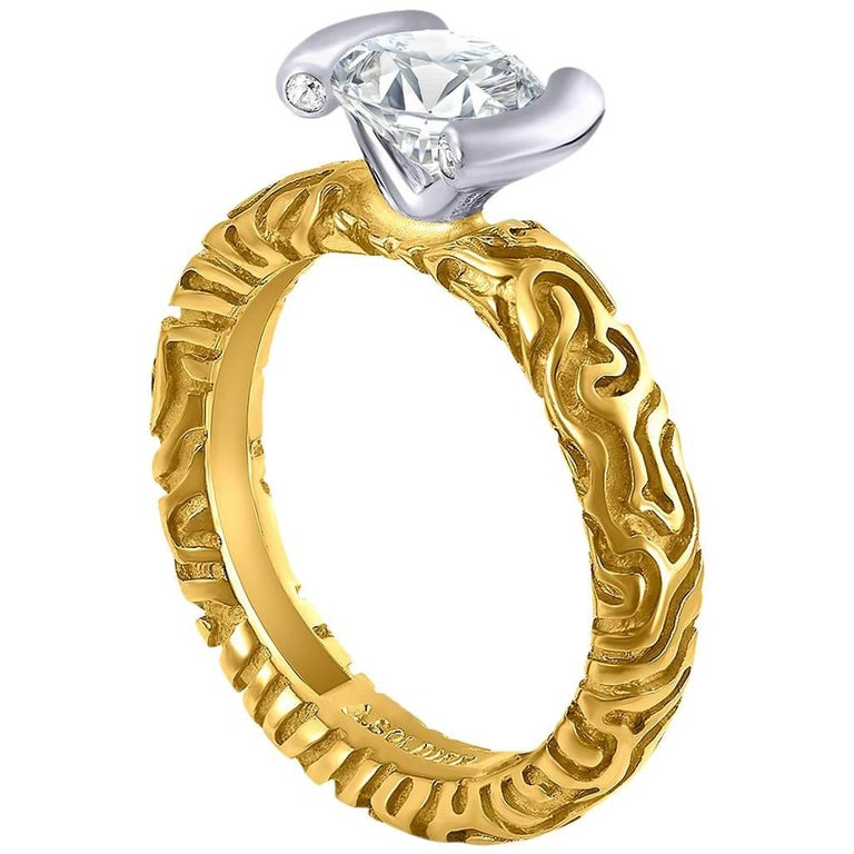 Alex Soldier 1 Carat Diamond Valentine Engagement Ring in Yellow and White Gold