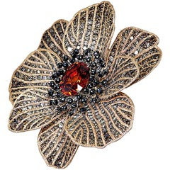 Mandarin Garnet Diamond Rose Gold Coronaria Brooch Necklace Cuff Bracelet Ring