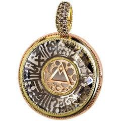 Alex Soldier Smoky Topaz Diamond Gold Talisman Pendant Necklace Enhancer