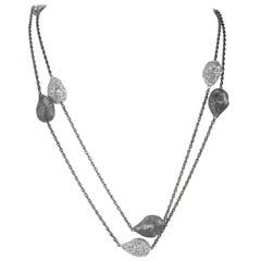 Sterling Silver Platinum Textured Station Necklace Limited Edition