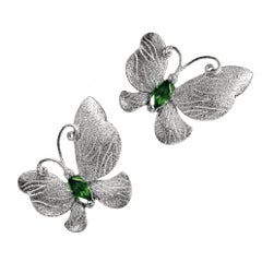 Tourmaline Sterling Silver Platinum Textured Butterfly Stud Earrings One of Kind
