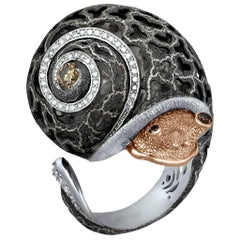 Diamond Gold Blackened Textured Sterling Silver Codi the Snail Ring