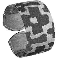 Sterling Silver Platinum Textured Hinged Cuff Bracelet