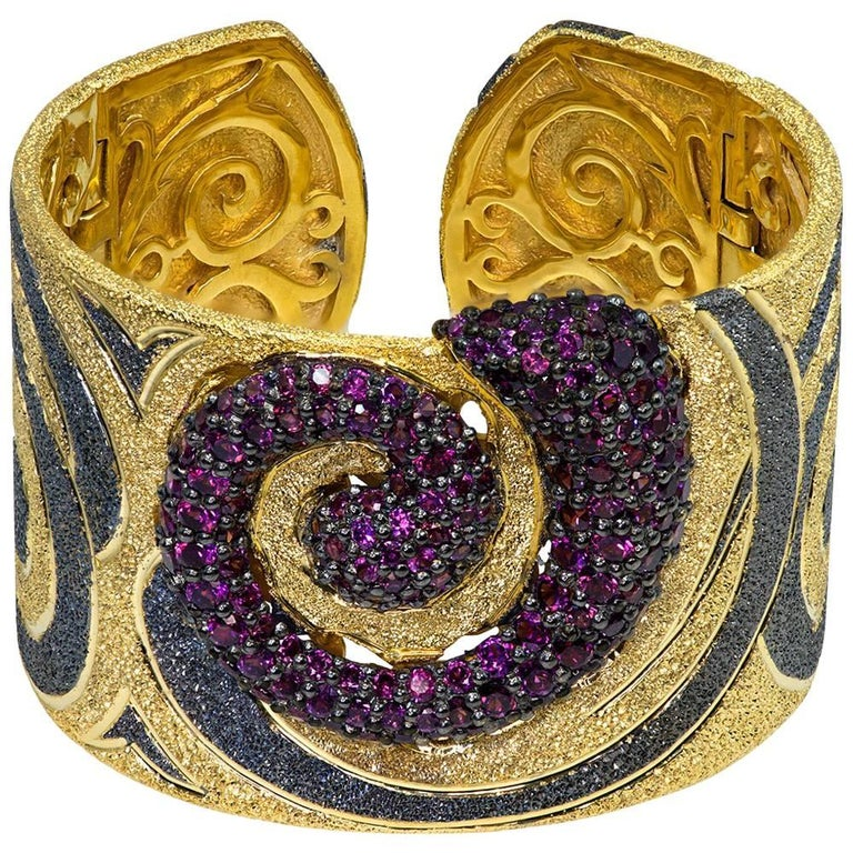 Garnet Sterling Silver Gold Platinum Textured Hinged Cuff Bracelet For Sale