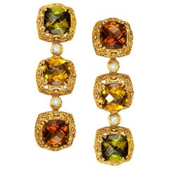 Tourmaline Diamond Yellow Gold Byzantine Drop Earrings One of a Kind