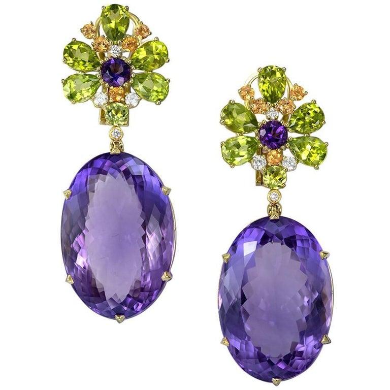 Amethyst Peridot Garnet Diamond Gold Drop Earrings 1