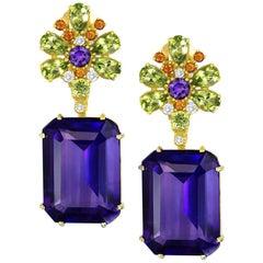 Amethyst Peridot Garnet Diamond Gold Drop Earrings One of a Kind
