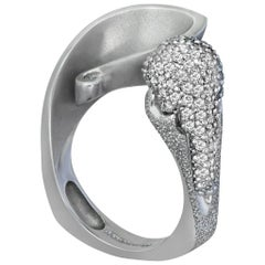 Diamond White Gold Textured Crossover Ring