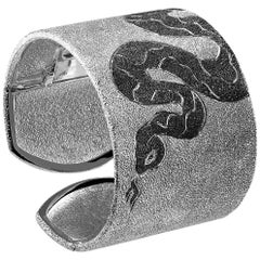 Sterling Silver Platinum Textured Hinged Serpent Cuff Bracelet One of a Kind