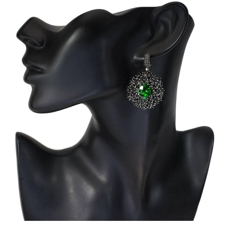 Crystal Spinel Blackened Sterling Silver Drop Earrings One of a Kind In As New Condition For Sale In New York, NY