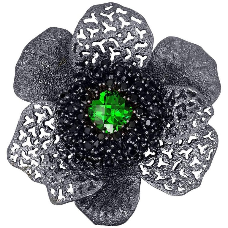 Crystal Spinel Blackened Sterling Silver Coronaria Brooch Pendant One of a Kind 1