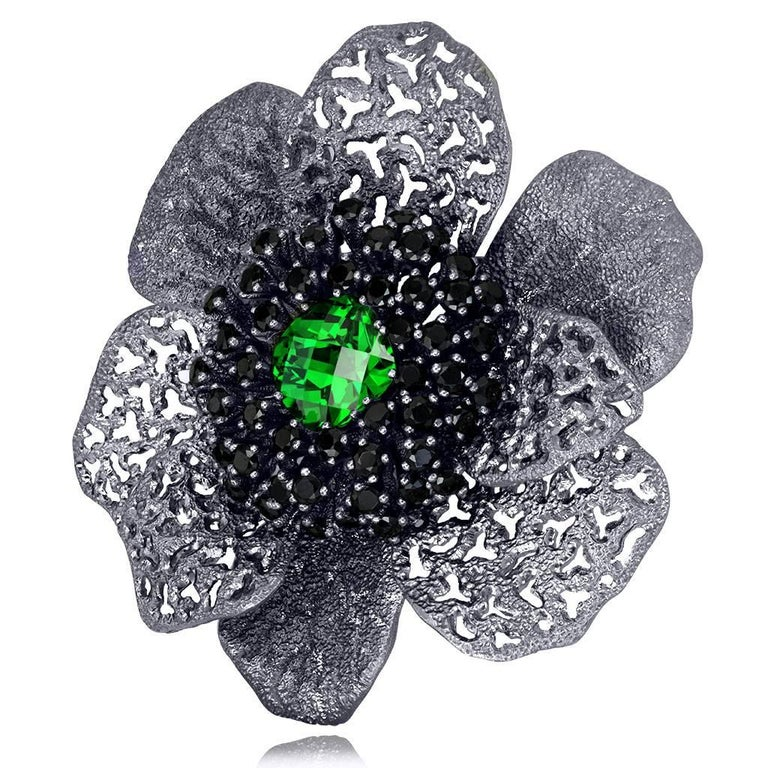 Crystal Spinel Blackened Sterling Silver Coronaria Brooch Pendant One of a Kind 2