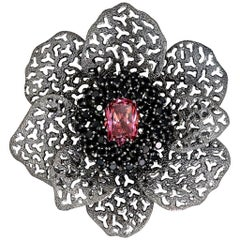 Pink Crystal Black Spinel Dark Sterling Silver Brooch Pendant One of a Kind