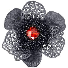 Crystal Spinel Blackened Sterling Silver Textured Brooch Pendant One of a Kind