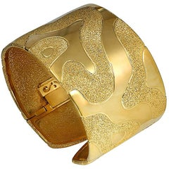 Sterling Silver Yellow Gold Hinged Textured Cuff Bracelet One of a Kind