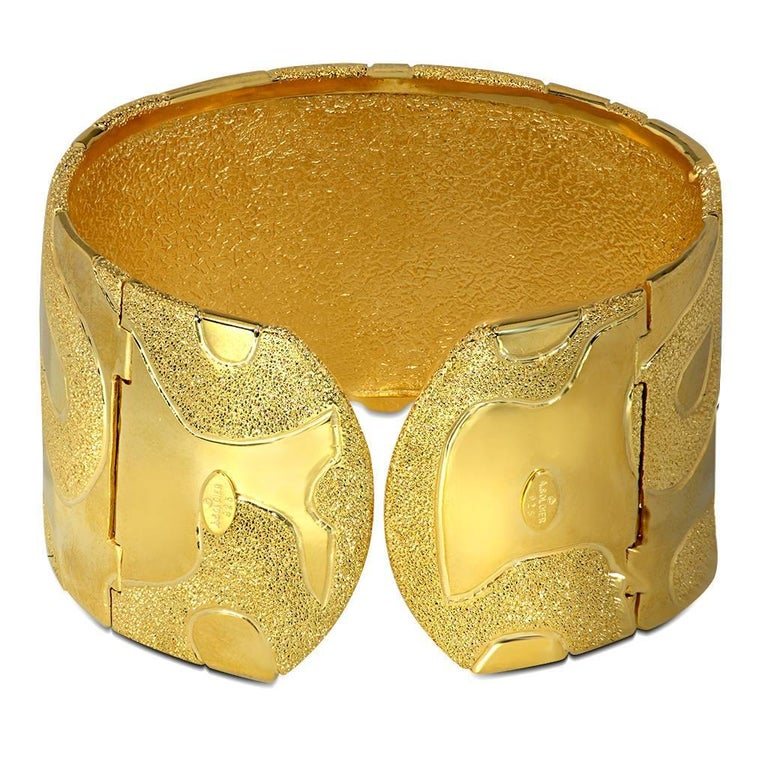 Women's or Men's Sterling Silver Yellow Gold Hinged Textured Cuff Bracelet One of a Kind For Sale