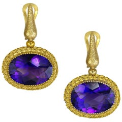 Amethyst Sapphire Yellow Gold Drop Textured Earrings One of a Kind