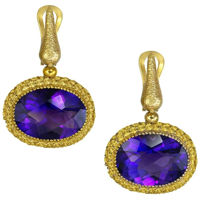 Amethyst Sapphire Yellow Gold Drop Textured Earrings One of a Kind For Sale