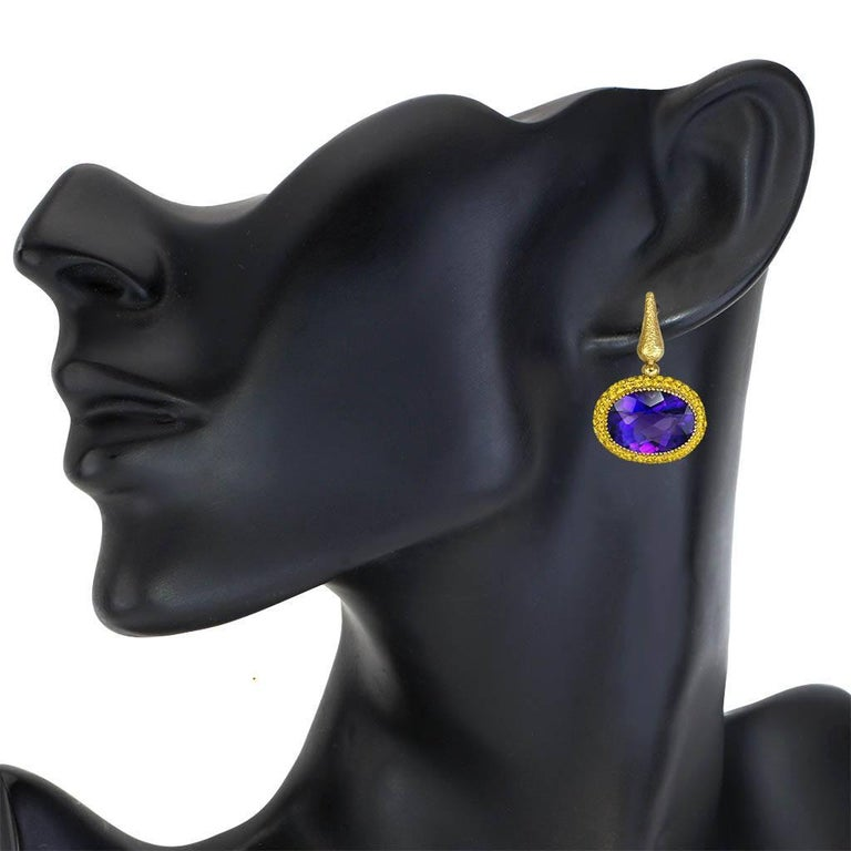 Women's Amethyst Sapphire Yellow Gold Drop Textured Earrings One of a Kind For Sale