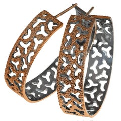 Sterling Silver Rose Gold Platinum Textured Hoop Earrings One of a Kind