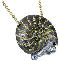 Diamond Blackened Gold Snail Pendant Necklace on Gold Chain One of a Kind