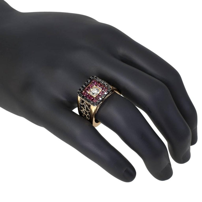 Diamond Garnet Gold Men's Textured Ring One of a Kind 3