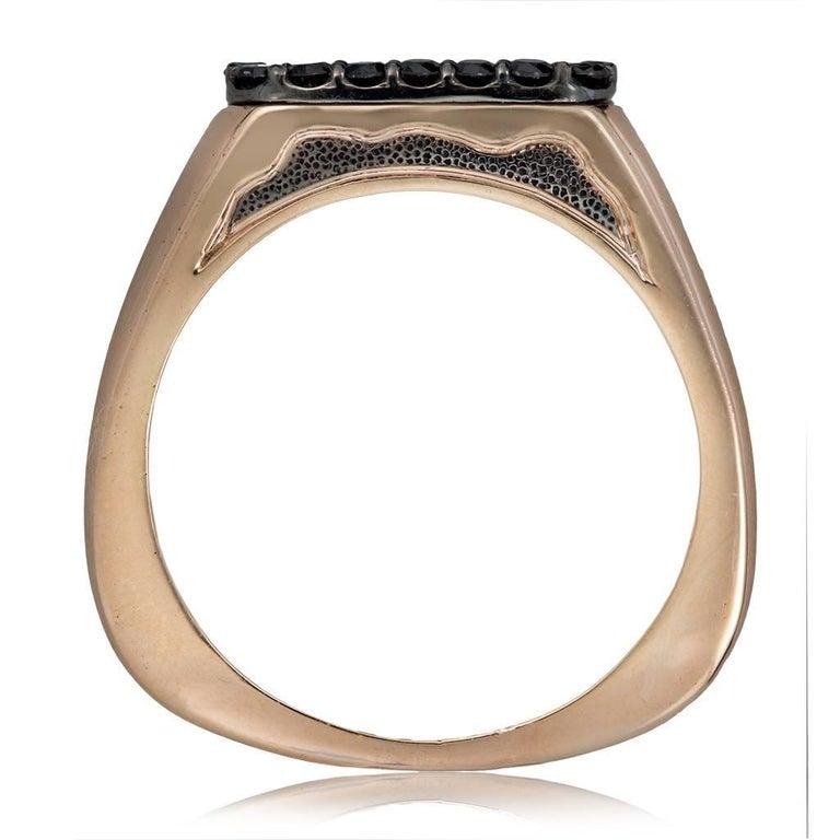 Diamond Garnet Gold Men's Textured Ring One of a Kind 1