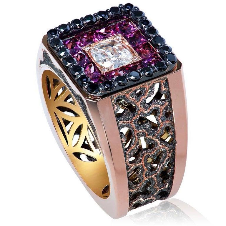 Round Cut Diamond Garnet Gold Men's Textured Ring One of a Kind