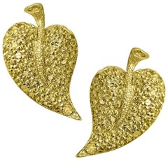 Sapphire Gold Leaf Earrings One of a Kind