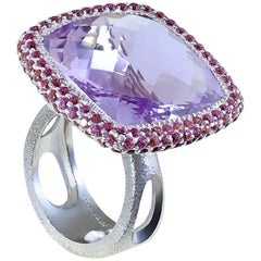Rose De France Amethyst Garnet White Gold Ring One of a Kind