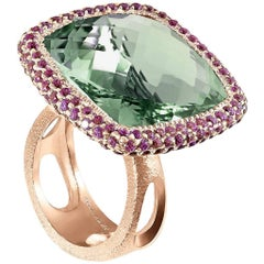 Green Amethyst Garnet Rose Gold Textured Ring One of a Kind